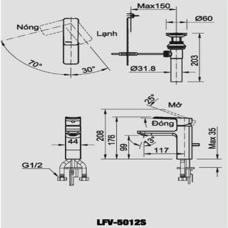 Bản vẽ kỹ thuật vòi chậu lavabo nóng lạnh INAX LFV-5012S