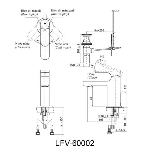 Bản vẽ kỹ thuật vòi chậu lavabo nóng lạnh INAX LFV-6002S