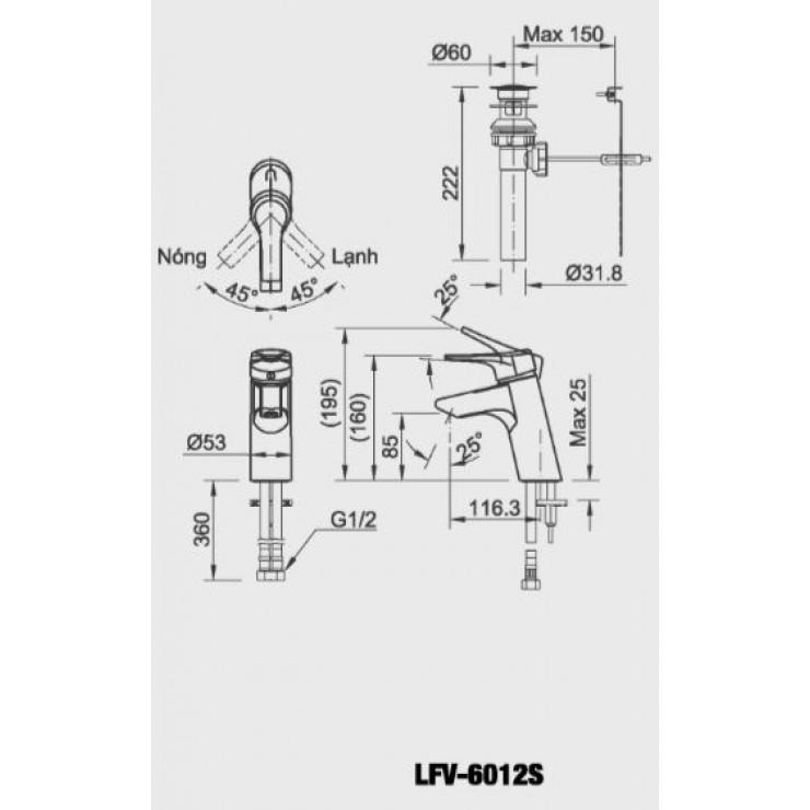 Bản vẽ kỹ thuật vòi chậu lavabo nóng lạnh INAX LFV-6012S