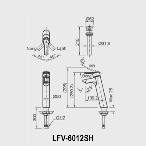 Bản vẽ kỹ thuật vòi chậu lavabo nóng lạnh INAX LFV-6012SH