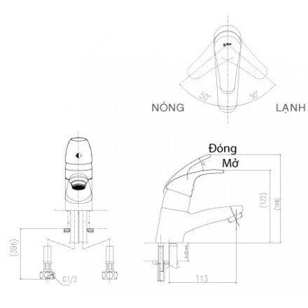 Bản vẽ kỹ thuật vòi chậu lavabo nóng lạnh INAX LFV-1302S