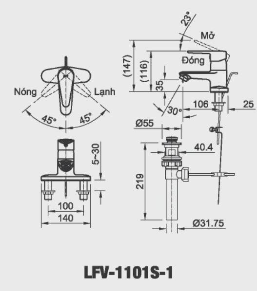 Bản vẽ kỹ thuật vòi chậu lavabo nóng lạnh INAX LFV-1101S-1