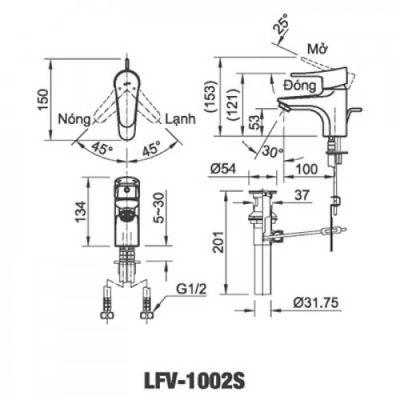 Bản vẽ kỹ thuật sen tắm INAX LFV-1002S