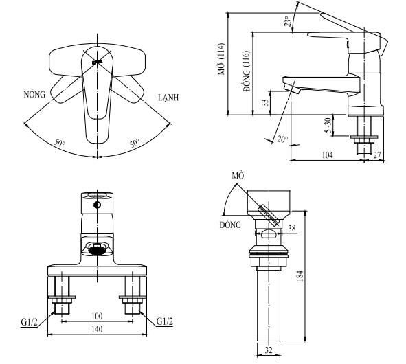 Bản vẽ kỹ thuật vòi chậu lavabo nóng lạnh INAX LFV-1201S-1