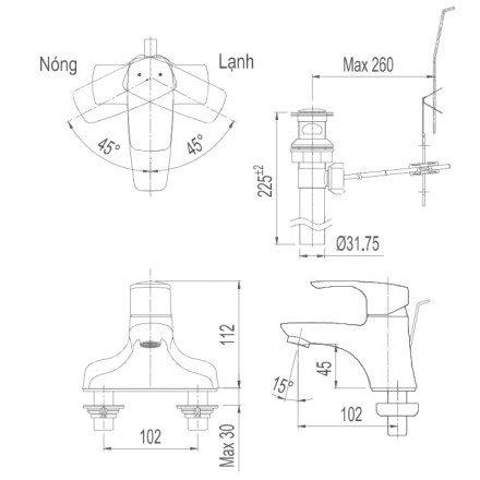 Bản vẽ kỹ thuật vòi chậu lavabo nóng lạnh INAX LFV-211S