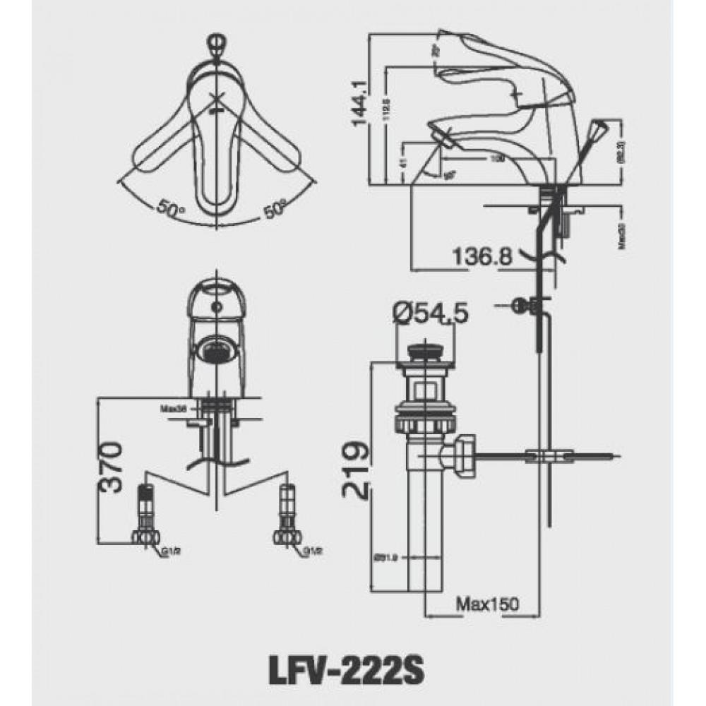 Bản vẽ kỹ thuật sen tắm INAX LFV-222S