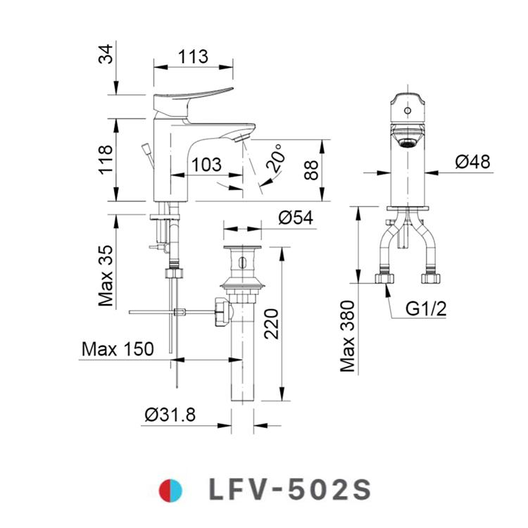 Bản vẽ kỹ thuật vòi chậu lavabo nóng lạnh INAX LFV-502S