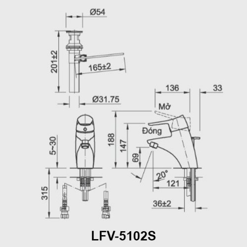 Bản vẽ kỹ thuật vòi chậu lavabo nóng lạnh INAX LFV-5102S