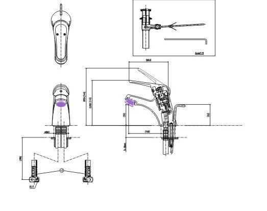 Bản vẽ kỹ thuật vòi chậu lavabo nóng lạnh INAX LFV-902S-1