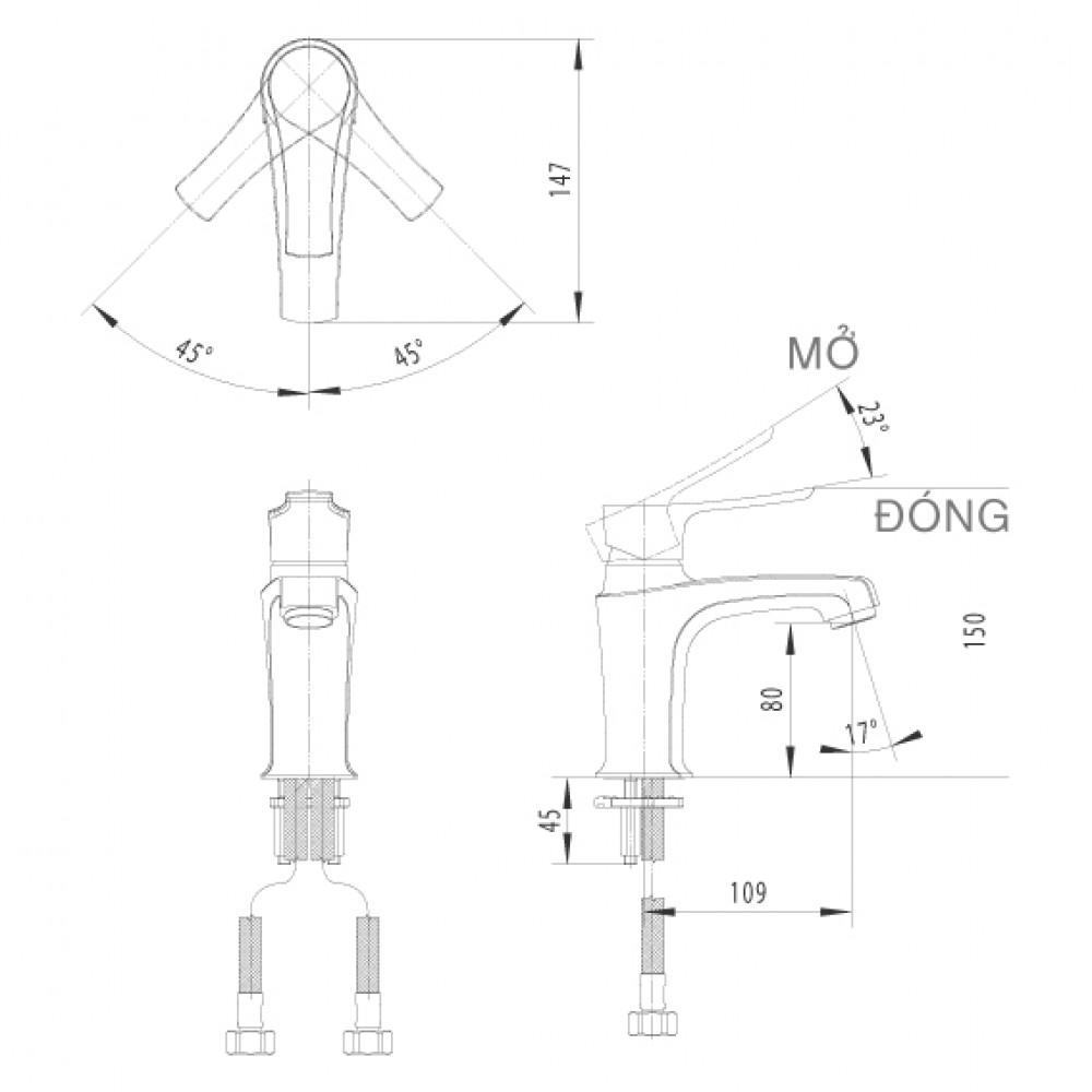 Bản vẽ kỹ thuật vòi chậu lavabo nóng lạnh INAX LFV-312S