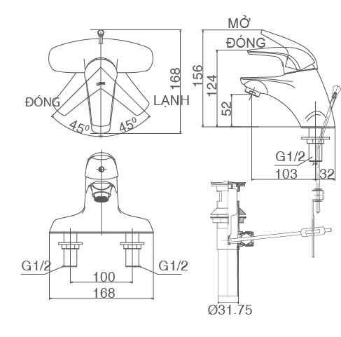 Bản vẽ kỹ thuật vòi chậu lavabo nóng lạnh INAX LFV-3001S