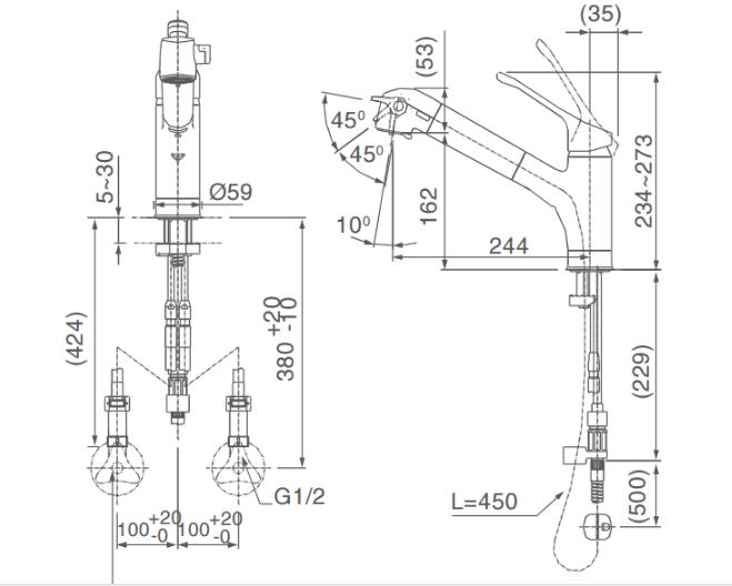 Bản vẽ kỹ thuật vòi bếp Inax nóng lạnh JF-AB461SYX