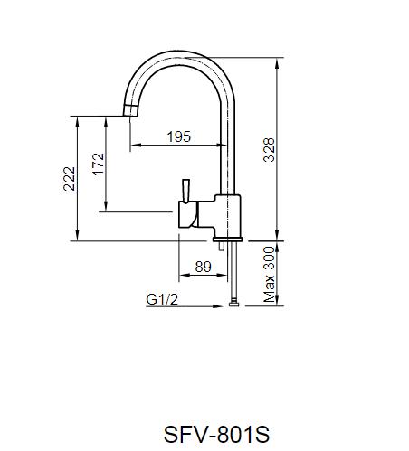 Bản vẽ kỹ thuật vòi bếp Inax nóng lạnh SFV-801S