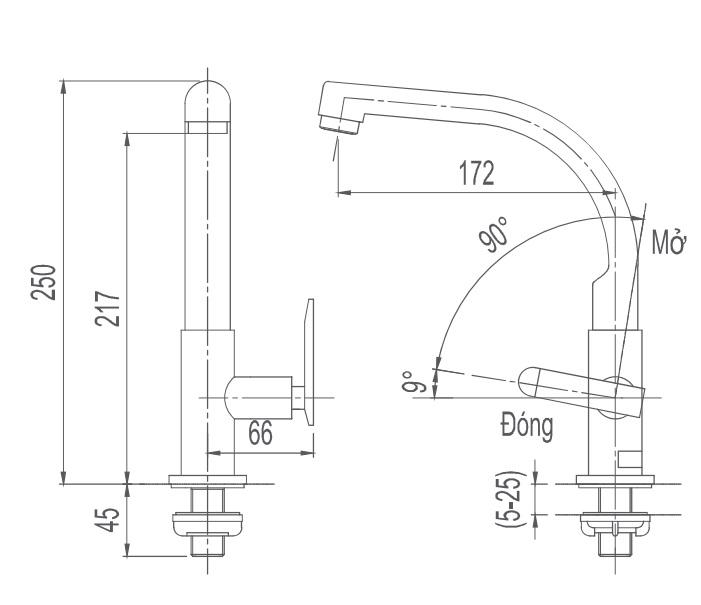Bản vẽ kỹ thuật vòi bếp Inax lạnh SFV-29