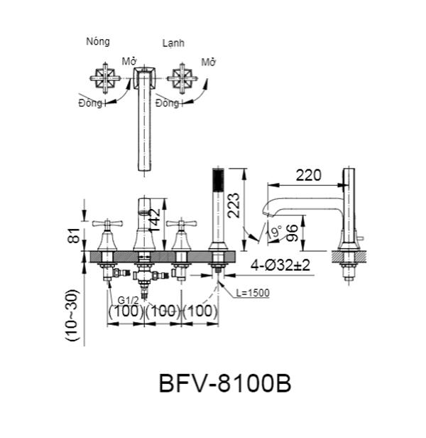 Bản vẽ kỹ thuật sen vòi bồn tắm nóng lạnh INAX BFV-8100B