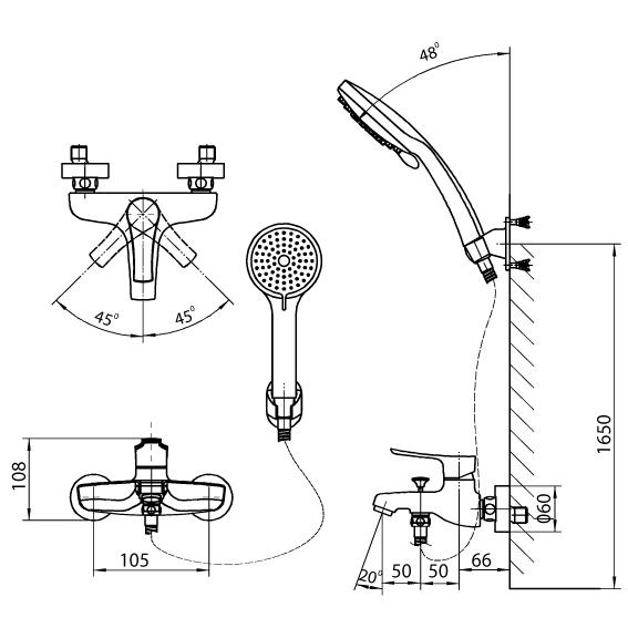 Bản vẽ kỹ thuật sen tắm INAX BFV-313S