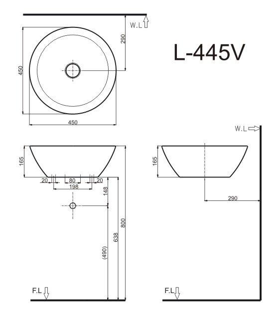 Bản vẽ kỹ thuật chậu rửa mặt đặt bàn INAX L-445V