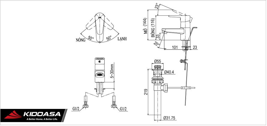Bản vẽ kỹ thuật vòi chậu lavabo nóng lạnh INAX LFV-1202S-1