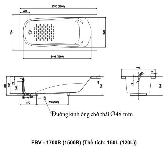 Bản vẽ kỹ thuật bồn tắm INAX FBV-1500R