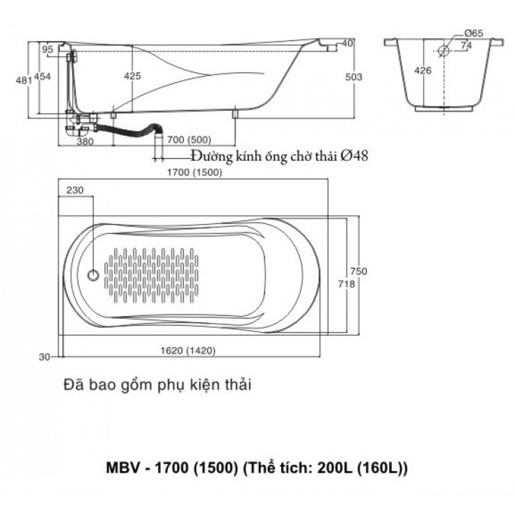 Bản vẽ kỹ thuật bồn tắm INAX MBV-1700