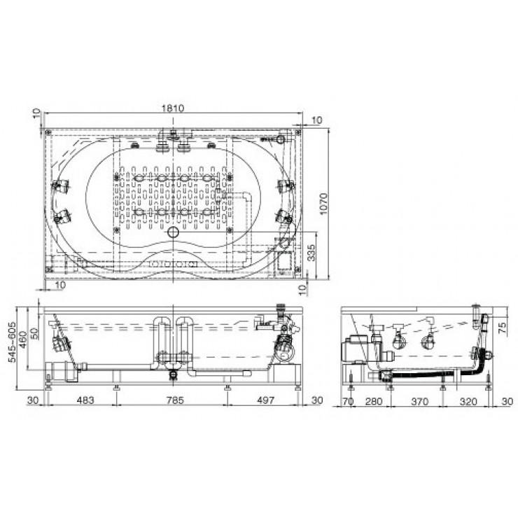 Bản vẽ kỹ thuật bồn tắm INAX MSBV-1800N