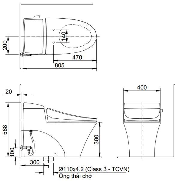 Bản vẽ kỹ thuật Bồn cầu 1 khối INAX AC-1017R+CW-H17VN