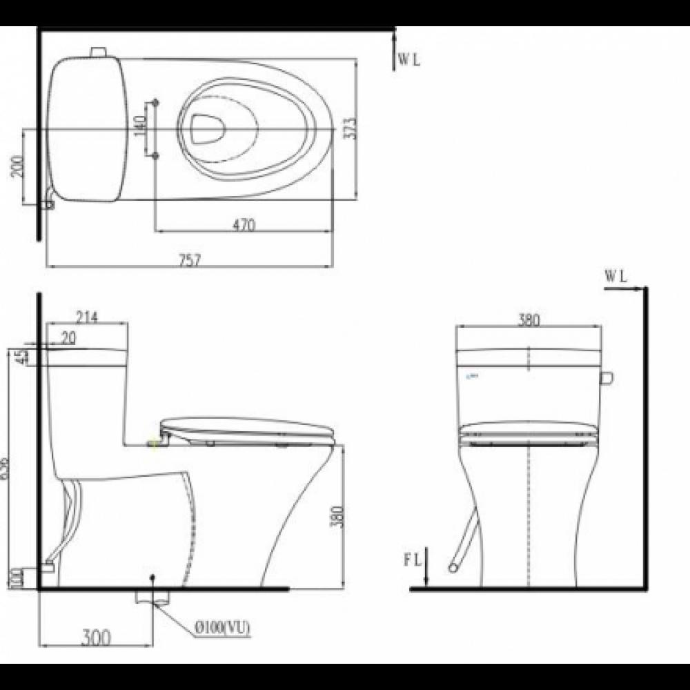 Bản vẽ kỹ thuật Bồn cầu 1 khối INAX AC-991R+CW-KB22A