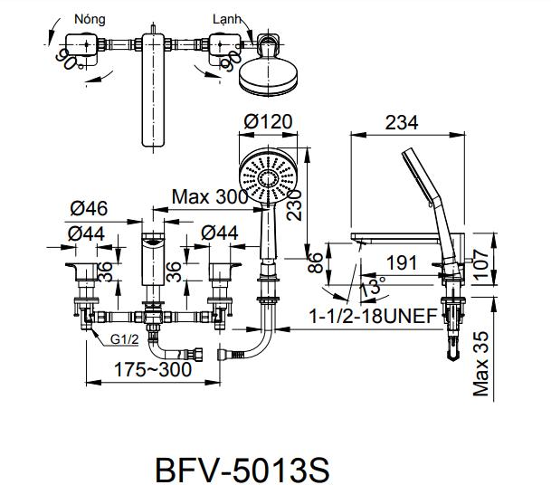 Bản vẽ kỹ thuật sen vòi bồn tắm nóng lạnh INAX BFV-5013S